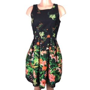 I. Madeline sleeveless floral dress sz S dark blue
